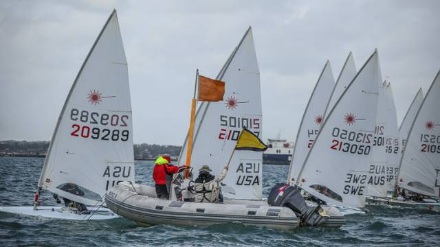 Lasers face a general recall of a race start at the World Championships on Dublin Bay