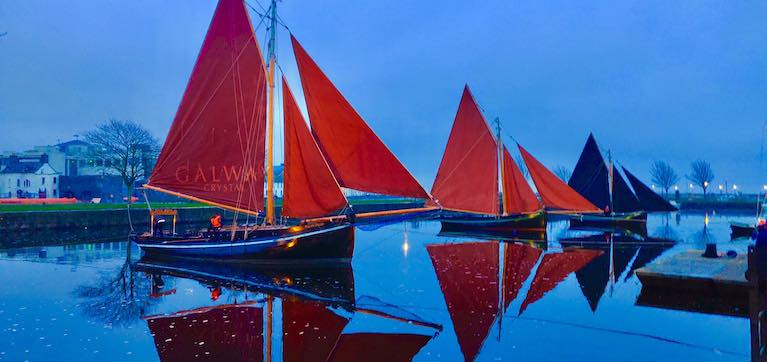 Traditional boats at this time of the year when tradition takes centre stage. Galway hookers moored in the Claddagh Basin across the River Corrib from the famous Spanish Arch are (left to right) the Naomh Cronan, the Manuela, and the Croi an Cladaigh
