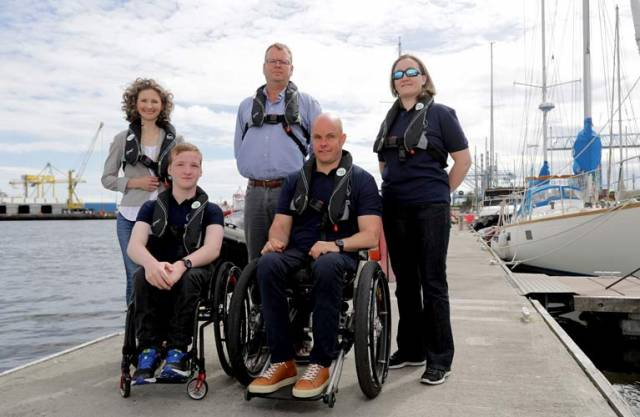 Pictured at today's launch at Poolbeg Yacht and Boat Club are (L-R) Johanne Murphy, ISA Inclusion Games Officer, Harry Hermon, CEO ISA, Nadine Lattimore, Oisin Putt and Mark Pollock
