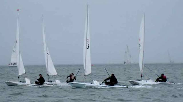 Howth Yacht Club Laser sailors found themselves having to contend with fog