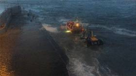 The lifeboat being recovered at Bundoran pier just before 9pm last night