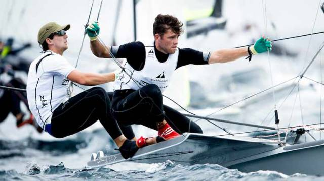 49er pair Ryan Seaton and Seafra Guilfoyle competing in Enoshima, Japan