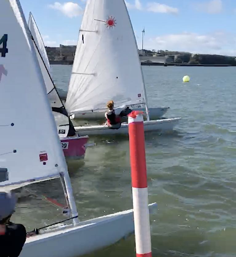 Overall leader Chris Bateman gets a nose out at the start of an MBSC Dinghy League on Saturday. See vid below