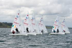 Six boats of the 420 fleet in close competition at the 2019 Youth Nationals in Cork Harbour