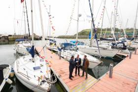 Bantry's own footballing legend, Graham Canty along with Bantry Bay Port Company Chairman, John Mullins (right) were on hand to open the new 40–boat marina