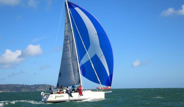 The J109 Jalapeno set a course record in reaching the Kish lighthouse in 51 minutes in today's DMYC race from Dun Laoghaire