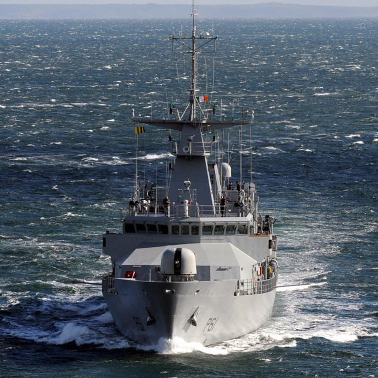 The leadship of the Offshore Patrol Vessel (OPV90) P60 class LÉ Samuel Beckett at sea