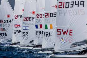 Liam Glynn files out of a Start line in Palma today. The Ballyholme youth lies 33rd in his 134–boat fleet