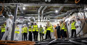 Young women take part in International Women in Engineering Day (INWED) with a tour at the UK shipyard Cammell Laird,Birkenhead on Merseyside. The group are seen on board RRS Sir David Attenborough.