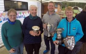 Top of the fleet at the Scottish Wayfarer Championship were (left to right) Margaret & Bob Sparkes (Loch Lomond SC) with Neil McSherry (National YC) and multiple champion Monica Schaefer (Greystones SC).