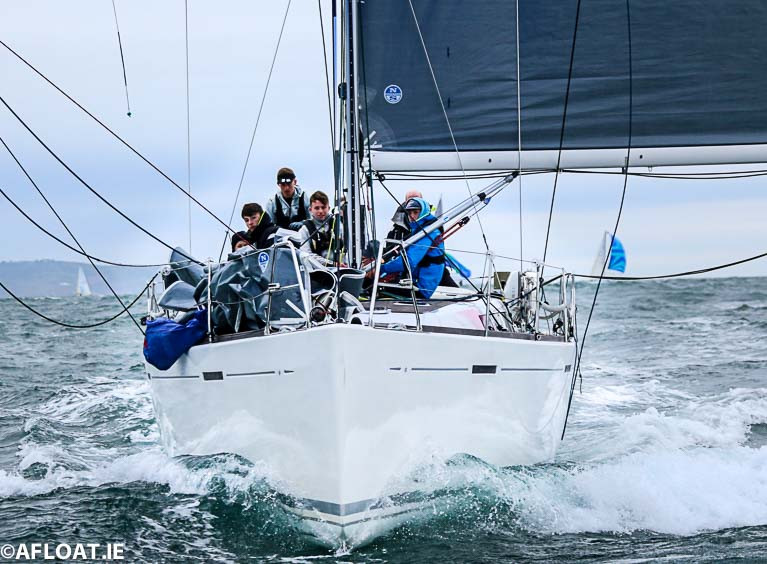 Denis & Annamarie Murphy's Grand Soleil 40 Nieulargo (Royal Cork YC) racing off Dublin Bay, which this weekend sees her start as one of the favourites in the 270-mile Fastnet 450 Race.