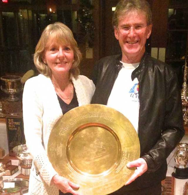 Cathy & Daragh Nagle at their home club of the Royal Victoria YC in western Canada receiving the Sydney Bryant Award for Blue-Water Cruising Excellence