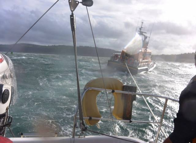 The view from one of three yachts Larne RNLI towed to safety last weekend amid high winds