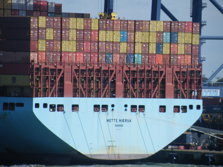 AFLOAT's photo of the deep-sea ('box-boat') containership Mette Maersk berthed in the UK at the Port of Felixstowe. The North Sea port is Britain's biggest and busiest container port, and one of the largest in Europe connecting the globe. The UK port Afloat also adds is served by additional short-sea container 'feeder' routes to include those linking Belfast, Dublin and Cork.