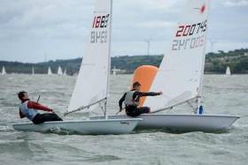 Kinsale's Darragh O'Sullivan leads Johnny Durcan into a mark rounding by half a boat length at the Connacht Laser Championships