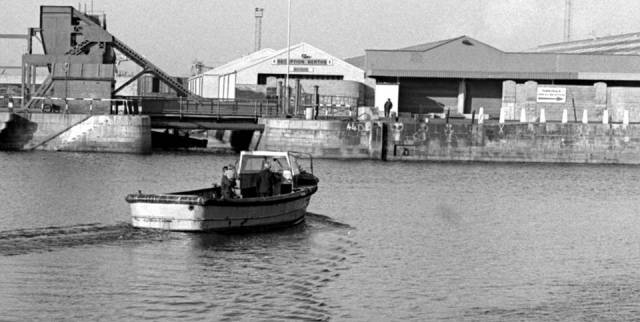 Times past: The last Liffey ferry service crossing took place in 1984 when above the ferry is seen heading to the North Wall and where along this quay now stands the National Convention Centre which is a dominate landmark on the waterside.  The ferry officially reopens service next month. AFLOAT also adds that another ferry, the 'Liffey Flyer' service did operate previously (albeit for just two years) until the Samuel Beckett Bridge opened almost a decade ago in December 2009.