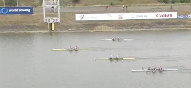 Britain win the Repechage as Ireland (top) push hard on Japan, with Austria (bottom) fourth