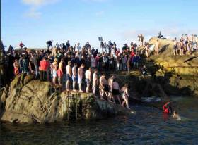 Winter sea swims are a famous Irish pursuit but none more famous than the Christmas Day morning swim at the Forty Foot bathing place in Sandycove on Dublin Bay