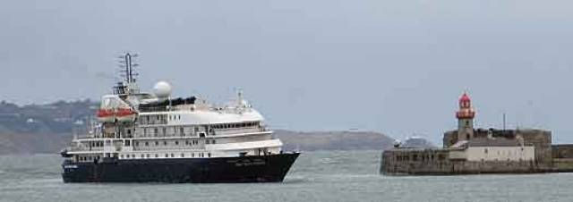 Seen arriving to Dun Laoghaire in 2013, the former Sea Explorer which this Spring has undergone a multi-million refurbishment is to return to the harbour this day next week under new name Hebridean Sky