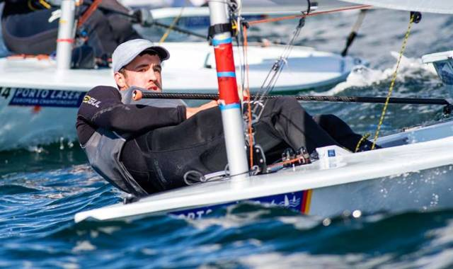 Personal Best for Finn Lynch in 13th Place So Far at Laser European Championships