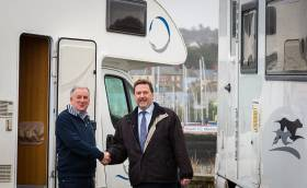 Howth Yacht Club Commodore Joe McPeake (left) with Derek McCauley of Carroll McCauley Campervans making plans for the accommodation village that will be on site for the duration of the Wave Regatta 2018 over the June Bank-Holiday weekend