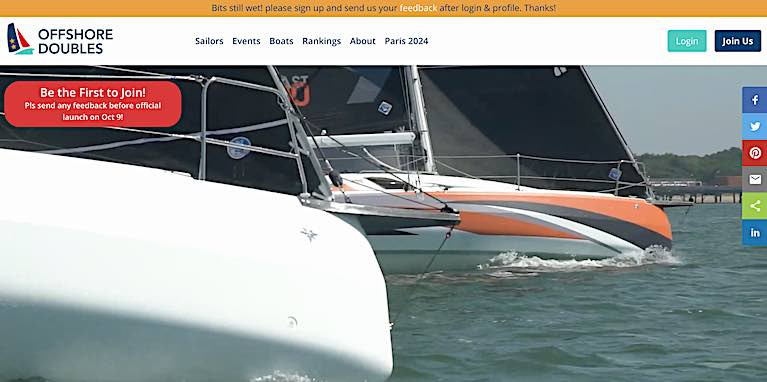 The new home page of the Offshore Doubles Association