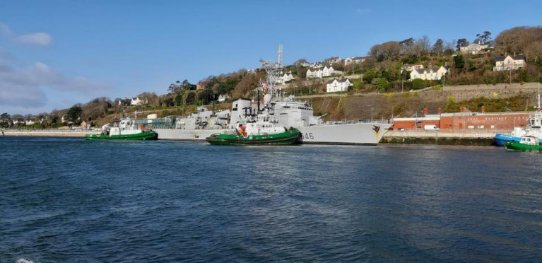 French frigate FASM Latouche-Tréville visits Cork Harbour, where female crew joined in a local charity event at the Naval Base opposite Cobh as pictured above.