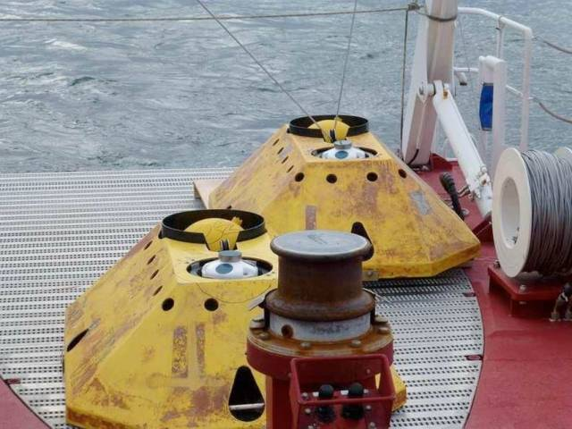 The seabed frame with ADCP and recovery buoy inside the frame