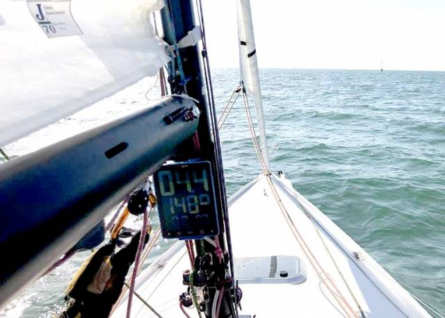 The Race Geek d10 equipment on a J70 mast