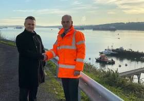 Andy Jones, Chief Executive at the Port of Milford Haven, and Sam Leighton, Managing Director of Bombora Wave Power, have signed a Memorandum of Understanding.