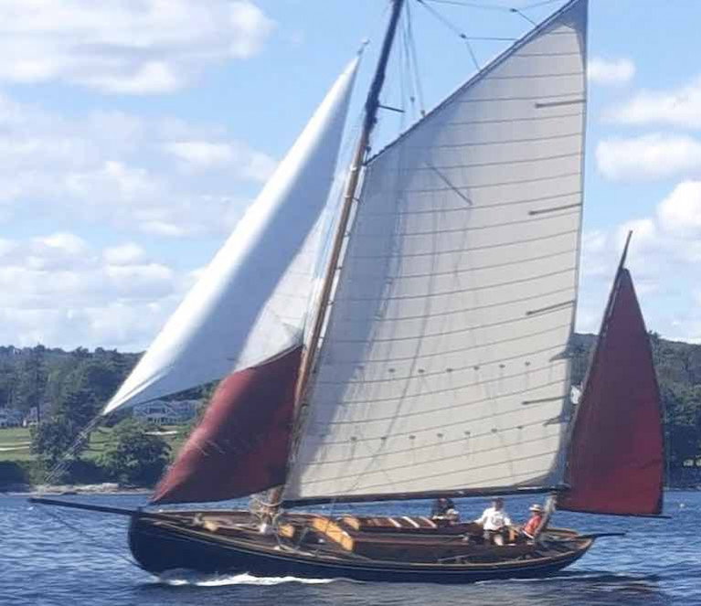 While her wardrobe is not yet complete, John B Kearney's 1925-built Mavis - restored by Ron Hawkins in Maine - has enough cloth available to take her first new steps under sail in September 2020