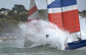 The British team suffered a devastating crash, nose-diving heavily into the Solent and throwing CEO and wing trimmer Chris Draper somersaulting