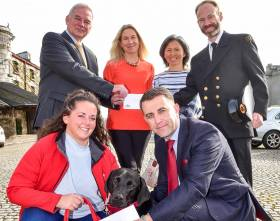 Back L to R: Brendan Keating Port of Cork, Sara Mackeown Port of Cork, Sunhwa and Colin Jenkins Seamen's Christian Friends Society Front L to R: Jessica Mullins Autism Assistance Dogs Ireland and Conor Mowlds National Maritime College of Ireland