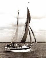 Conor O'Brien's Saoirse as she was in the 1950s under Eric Ruck's ownership. This eccentric-looking 42ft ketch achieved daily mileages in the Southern Ocean which showed she was something very special