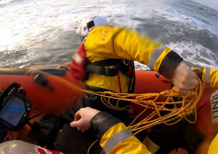 Skerries RNLI recovering a lifebuoy from the water during a search for potentially missing swimmers off Balbriggan on Wednesday evening 21 April