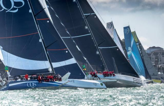 The Rolex Fastnet Race's largest monohull yachts at the start of the 2017 race