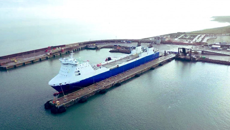 Shipping line Stena brings forward Brexit plans to double capacity on Rosslare-Cherbourg route. Above the ro-ro freight-only ferry Stena Foreteller seen carrying out recent berthing trials at the Wexford ferryport