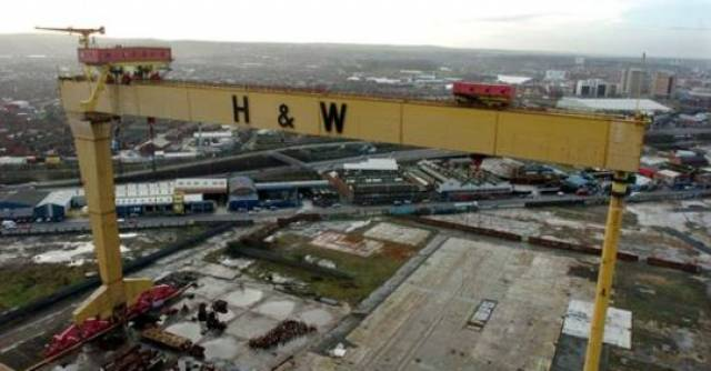 Samson & Goliath cranes of H&W shipyard, Belfast. Workers staged a sit-in protest at the shipyard for weeks as part of a campaign to save one of Northern Ireland's biggest names in industry