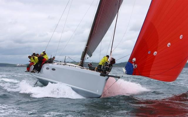 French yacht Teasing Machine competing intoday's opening races of Volvo Cork Week regatta. Scroll down for video.