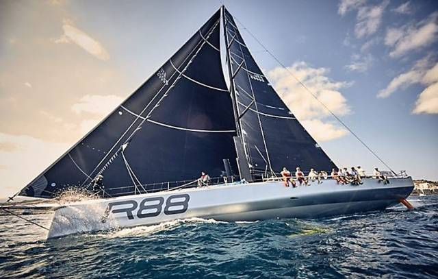 Rambler 88 leaves the rest of the ARC 2016 fleet in her wake as she builds up speed off Gran Canaria