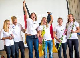 Dun Laoghaire's Saskia Tidey sailing for Team GB (second from left) took a podium finish at the 49erFX Euro Championships