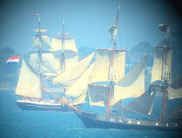 Tall Ships Morgenster from Holland and Earl of Pembroke from the UK on Dublin Bay