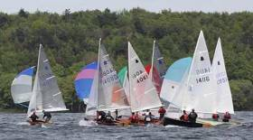 Close-fought GP 14 action on Lough Owel at Mullingar. The class starts its national programme at this central location on April 27th-28th