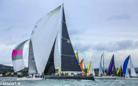 The D2D start tonight at 6pm on Dublin Bay with Mick Cotter's 94-footer dominating the fleet. Scroll down for more D2D Race photos and vids