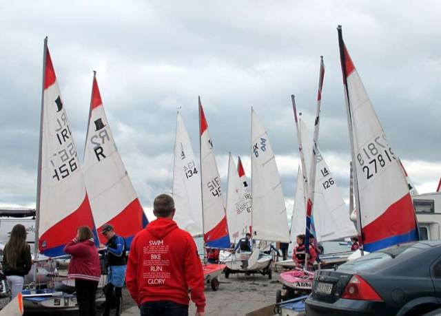 Topper dinghies prepare to launch at Clontarf Yacht and Boat Club