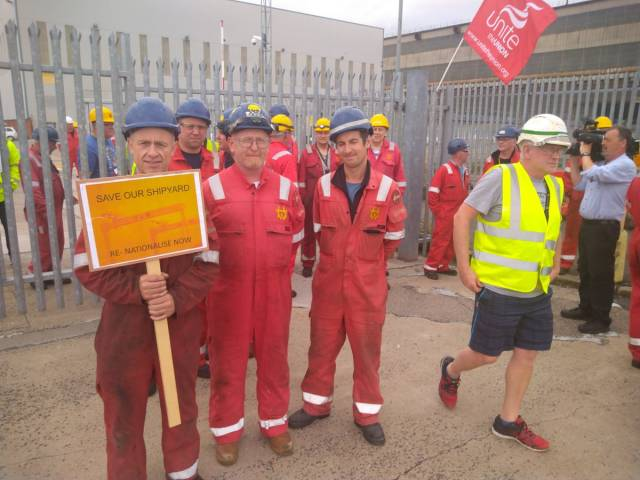 Save Our Shipyard: protesters yesterday brought a shipping container to the front gates of Harland and Wolff for shelter for workers who say they will protest all day and all night until a solution is found to save their jobs