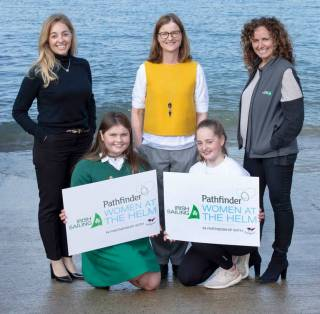 Pictured from the left at the launch of the inaugural Pathfinder Women at the Helm Regatta which takes place on 17th and 18th August at the National Yacht Club in Dun Laoghaire, Co Dublin were Sara Davidson, Marketing Director at Pathfinder, Kate Fahy competitor, Susan Spain, National Yacht Club, Alan Coakley competitor and Sarah Byrne, Irish Sailing board member and competitor