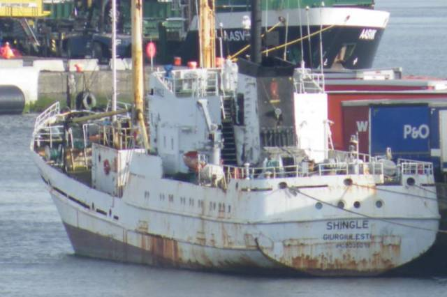 The MV Shingle berthed in Dublin Port