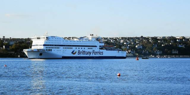 Brexit ferry deal: Brittany Ferries was one of three suppliers which had a UK Government contract to provide extra ferry services AFLOAT adds on the English Channel to the EU through ports in France. Above AFLOAT adds is Brittany Ferries Roscoff-Plymouth serving Armorique (seen here in Cork Harbour) earlier this season having stood in on the Irish route linking Roscoff while flagship Pont-Aven underwent major repairs.