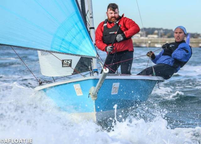 Dara McDonagh (left) and James Clancy racing an RS400 in Saturday's first race of the INSS RS series in Dun Laoghaire Harbour